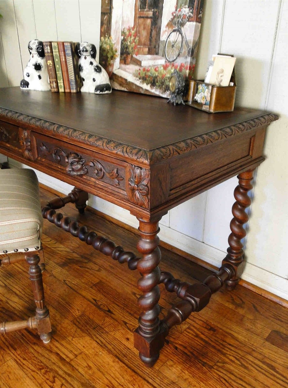 Antique French Carved Oak Barley Barley Twist Desk Hall