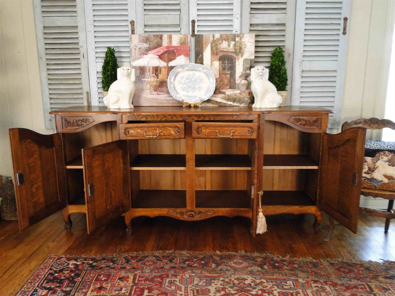 Antique French Country Louis XV Buffet Sideboard Server 4 door Carved Tiger Oak