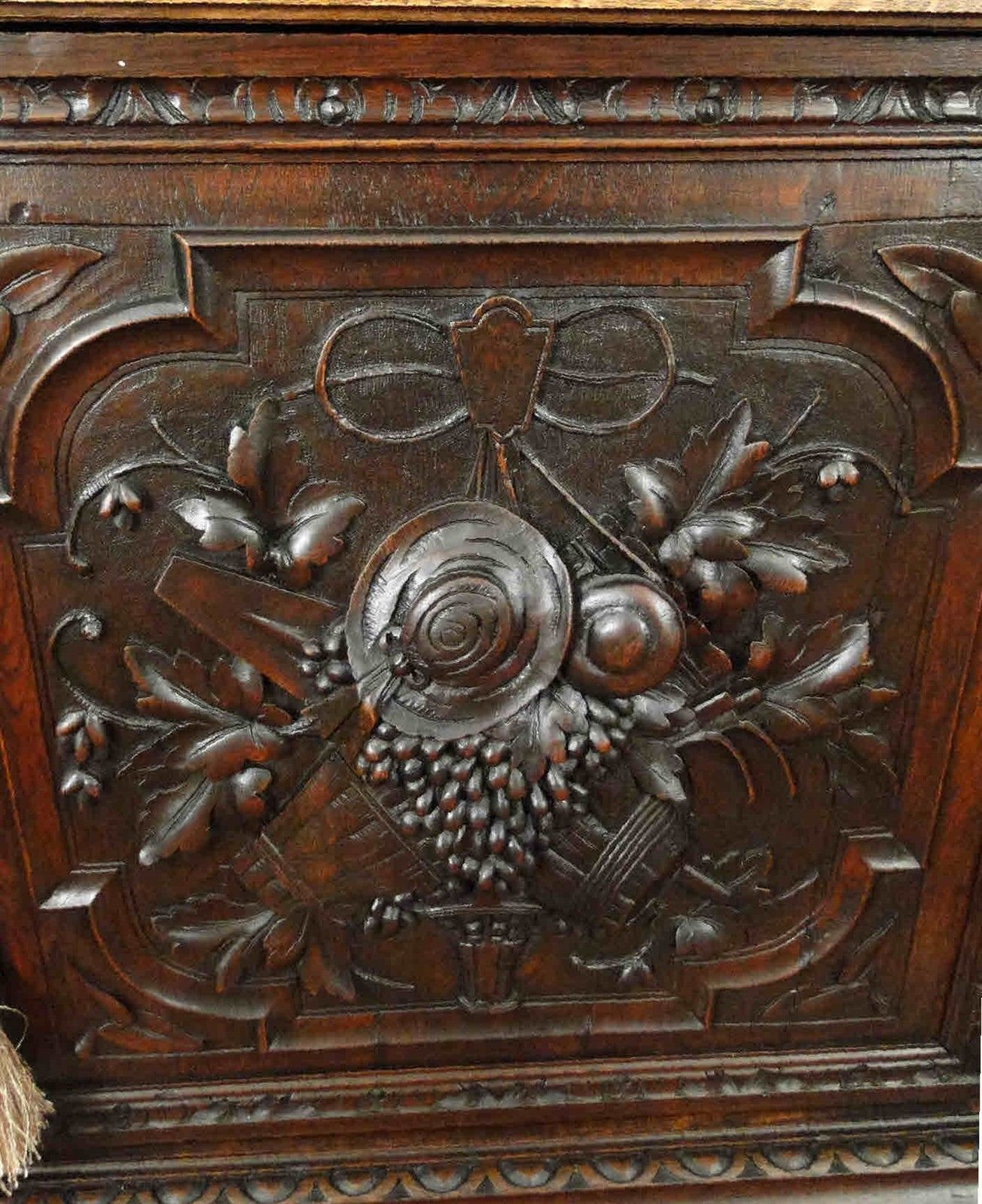 Antique French Hunt Wine Cabinet Bookcase ~ Black Forest Carved Dark Oak 1800's