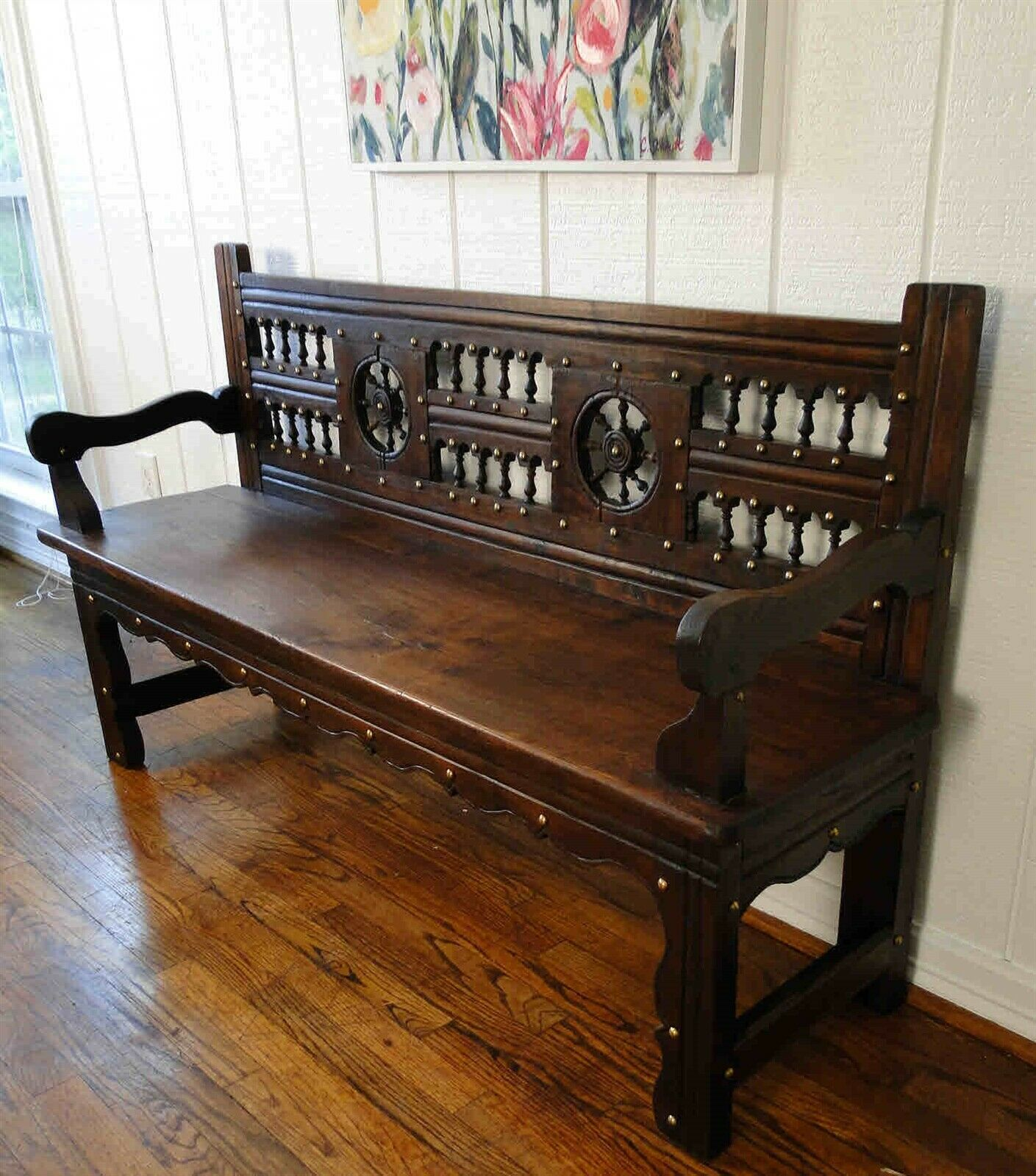 Antique French Carved Hall Bench Pew Entry Seat Study Gothic Dk Oak Banquette