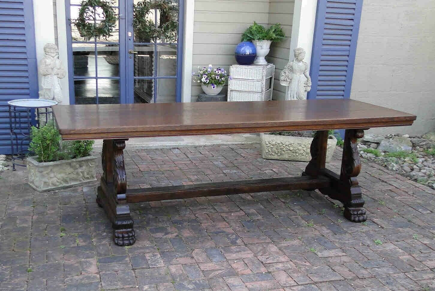 Antique French Farm Dining Table Authentic Wine Country Carved Wide Boards Oak