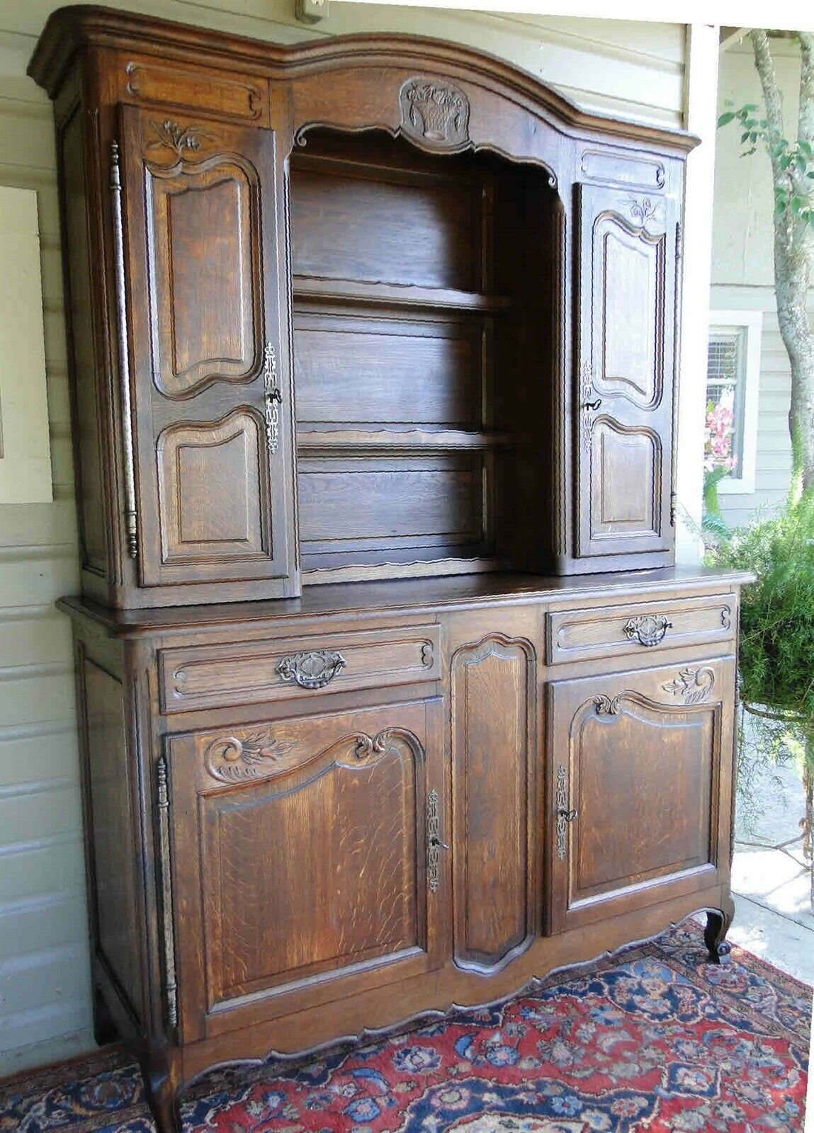 Antique French Hutch Cabinet Bookcase Buffet Carved Basket Key Panels Dark Oak
