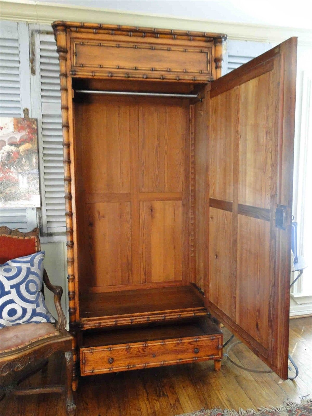 Antique French Bamboo Beveled Mirrored Armoire 20204