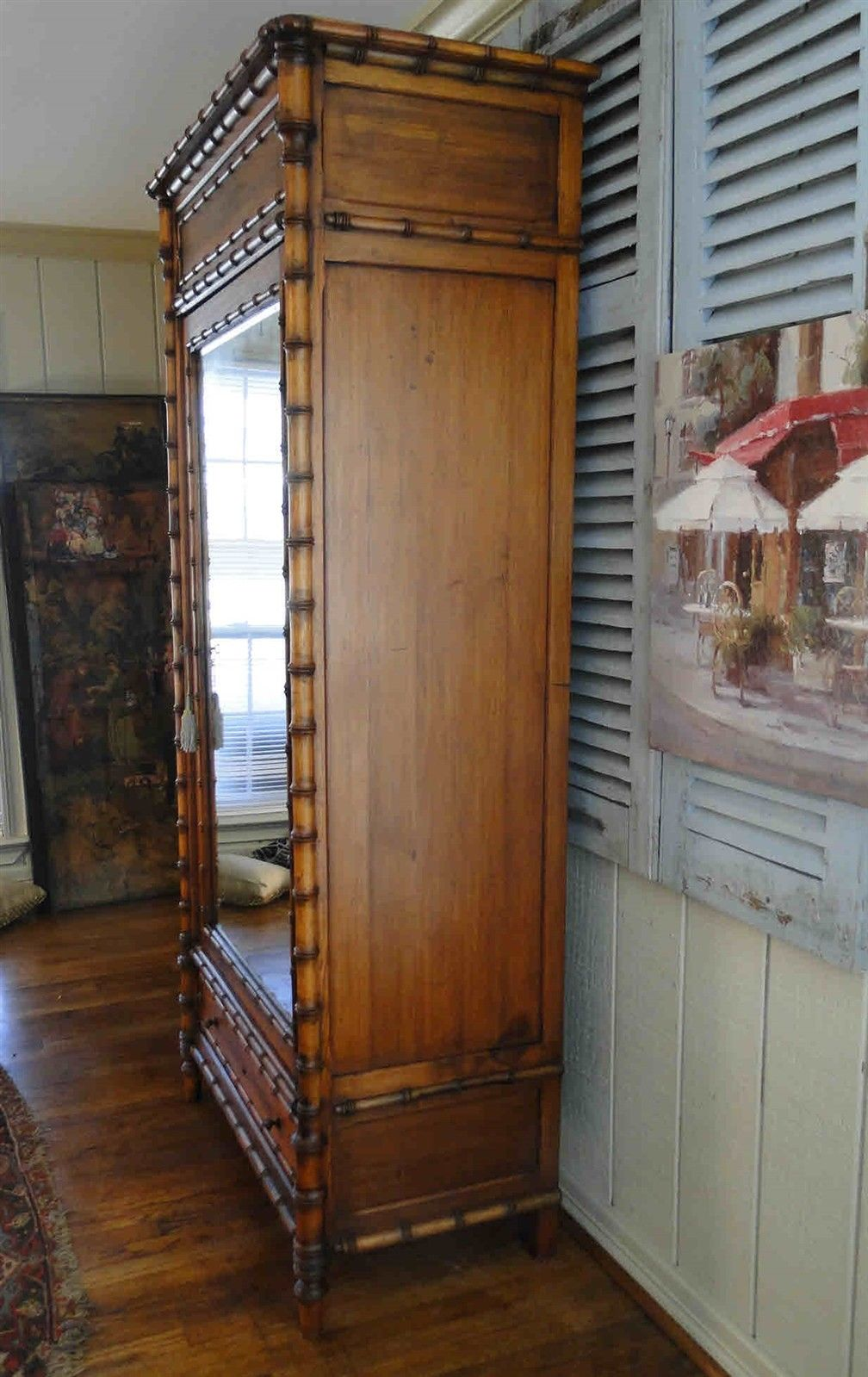 Antique French Bamboo Beveled Mirrored Armoire 20209