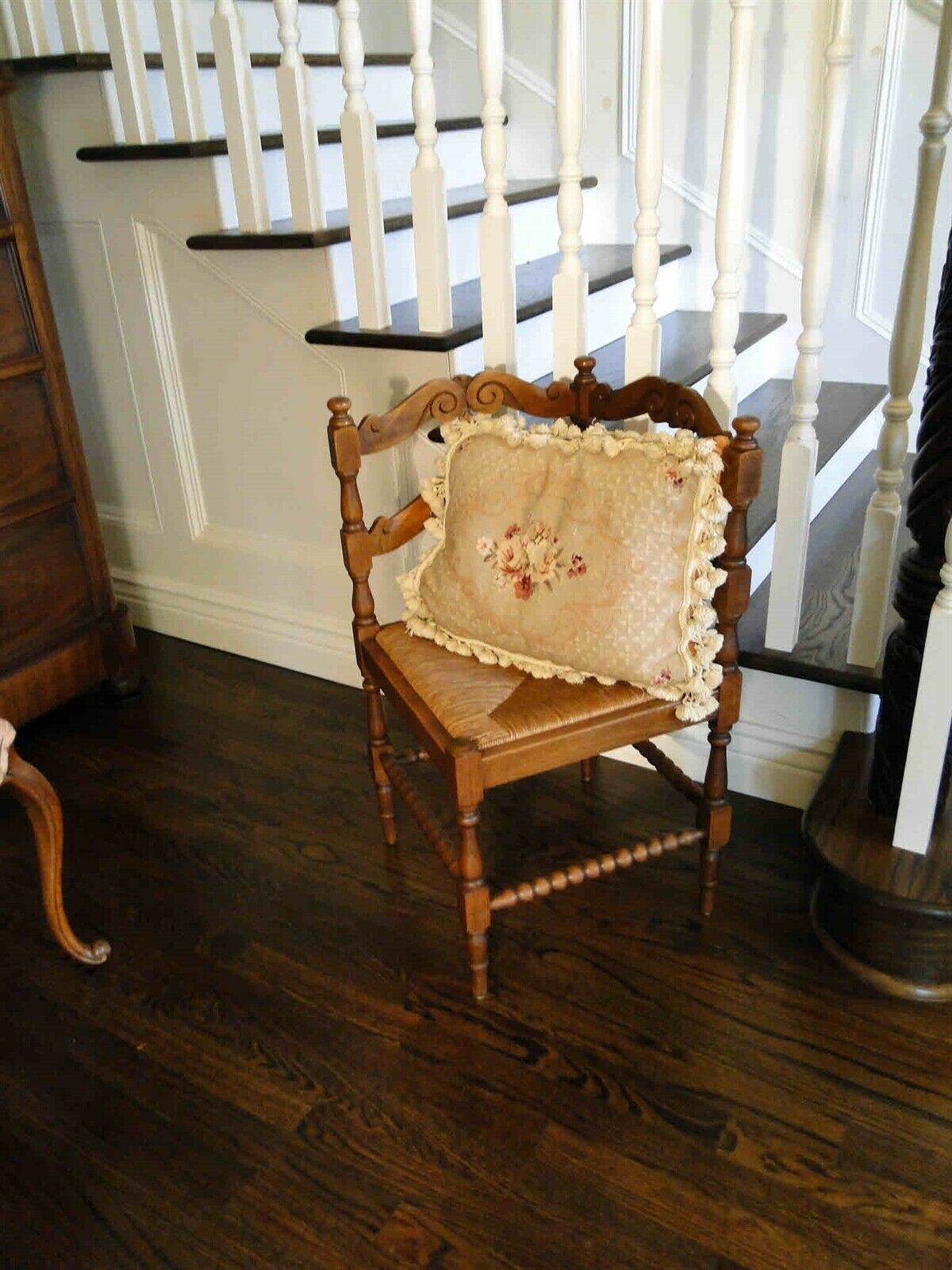 Antique French Corner Chair Carved with Rush Seat Turned Legs Oak Scalloped