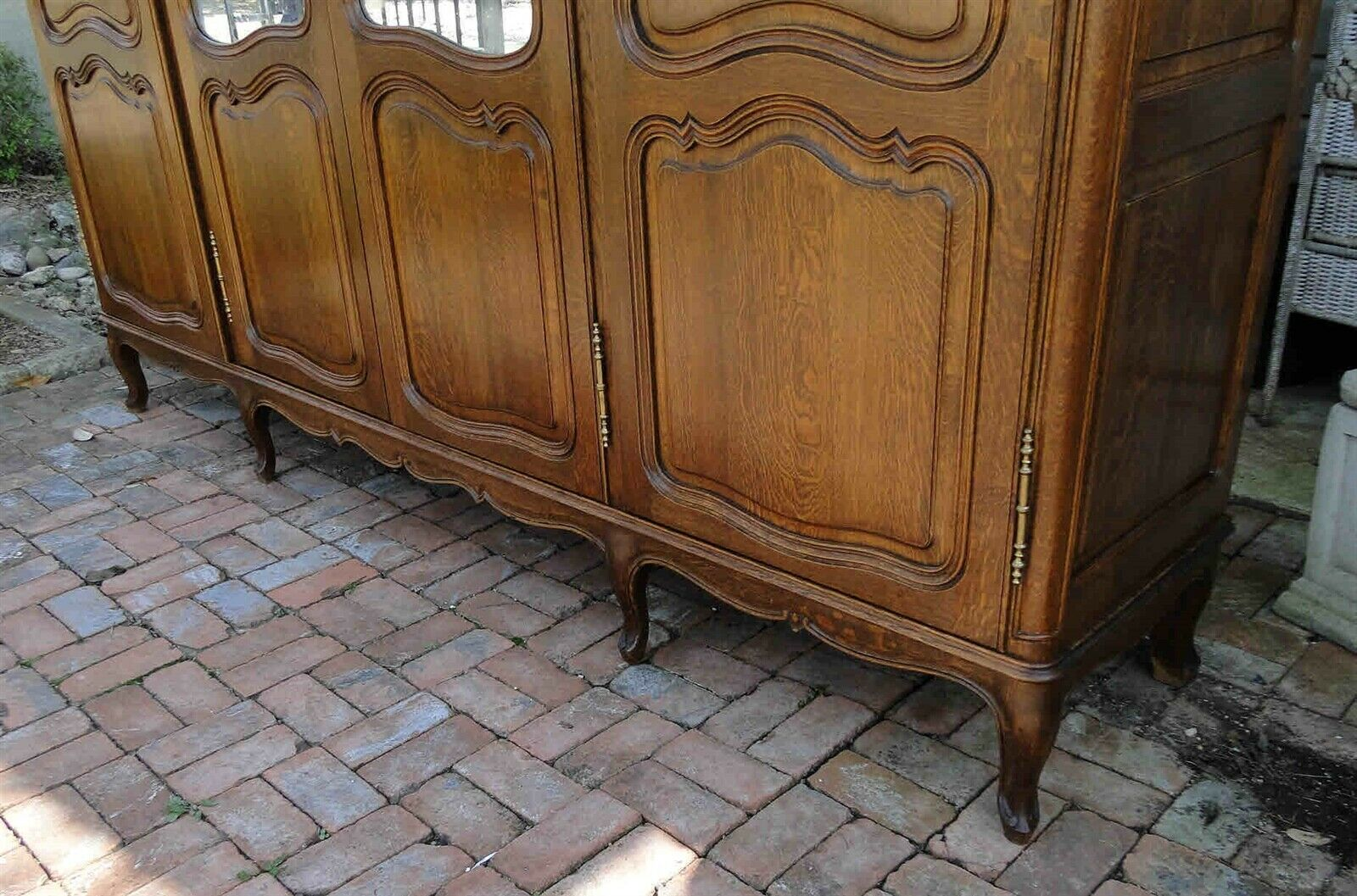 Antique French Country Wardrobe Armoire 4 door shelves hanging rod tiger Oak