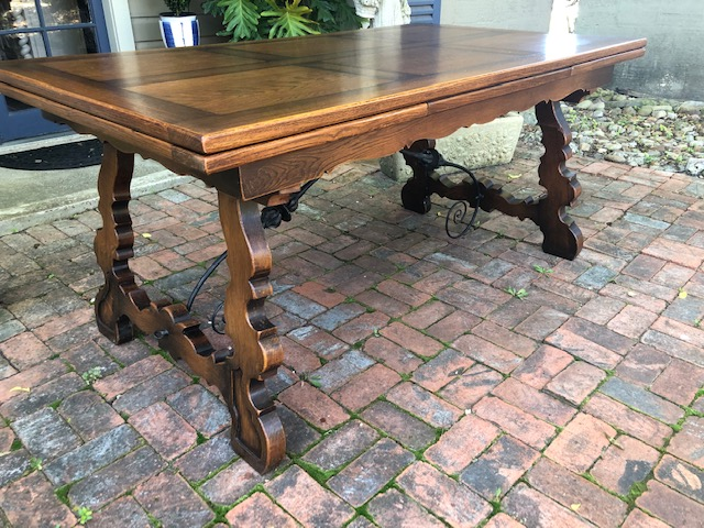 Antique France Provence Walnut Inlaid Table Dining Legs of Lyre Style Iron Trim