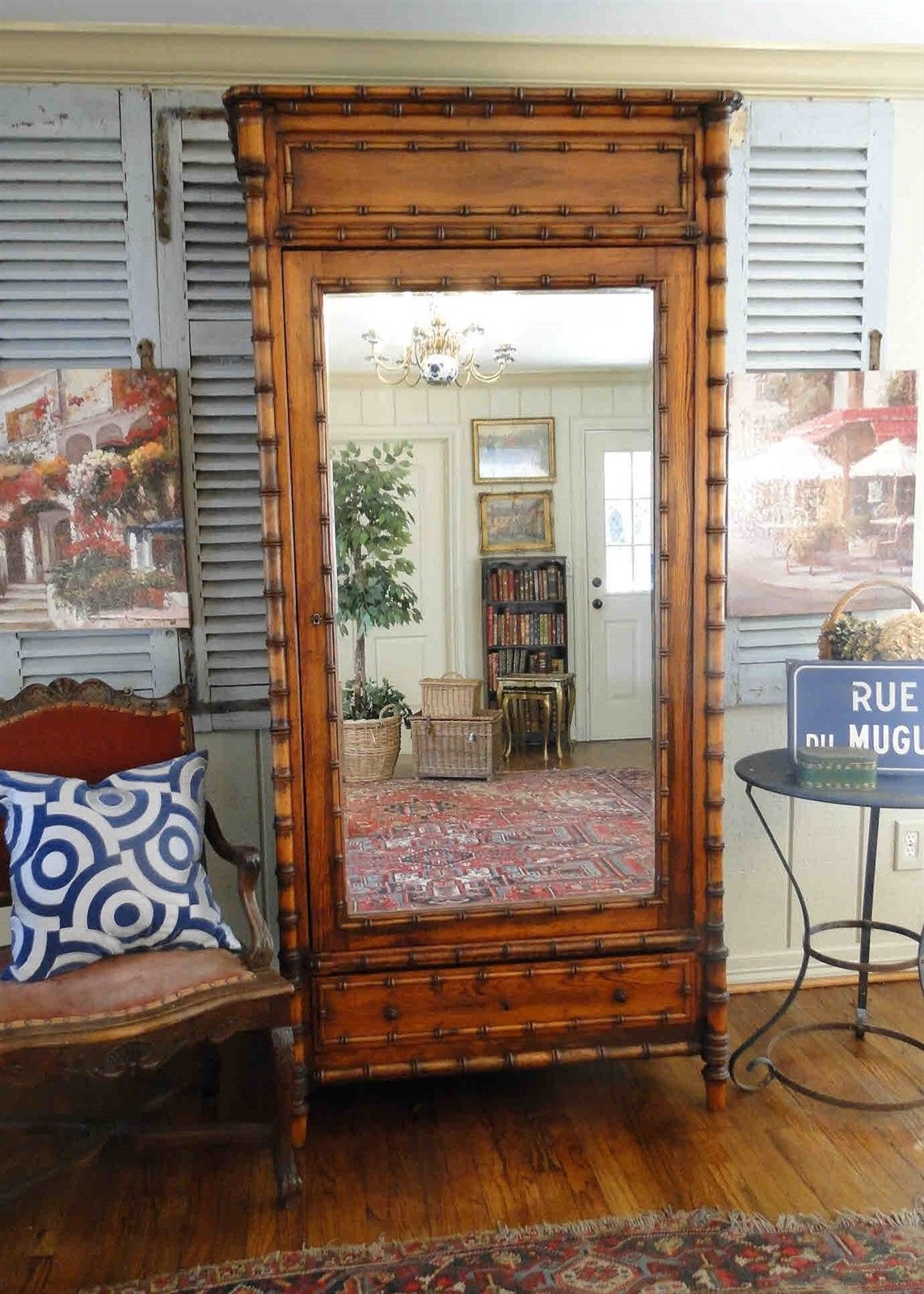 Antique French Bamboo Beveled Mirrored Armoire 20212