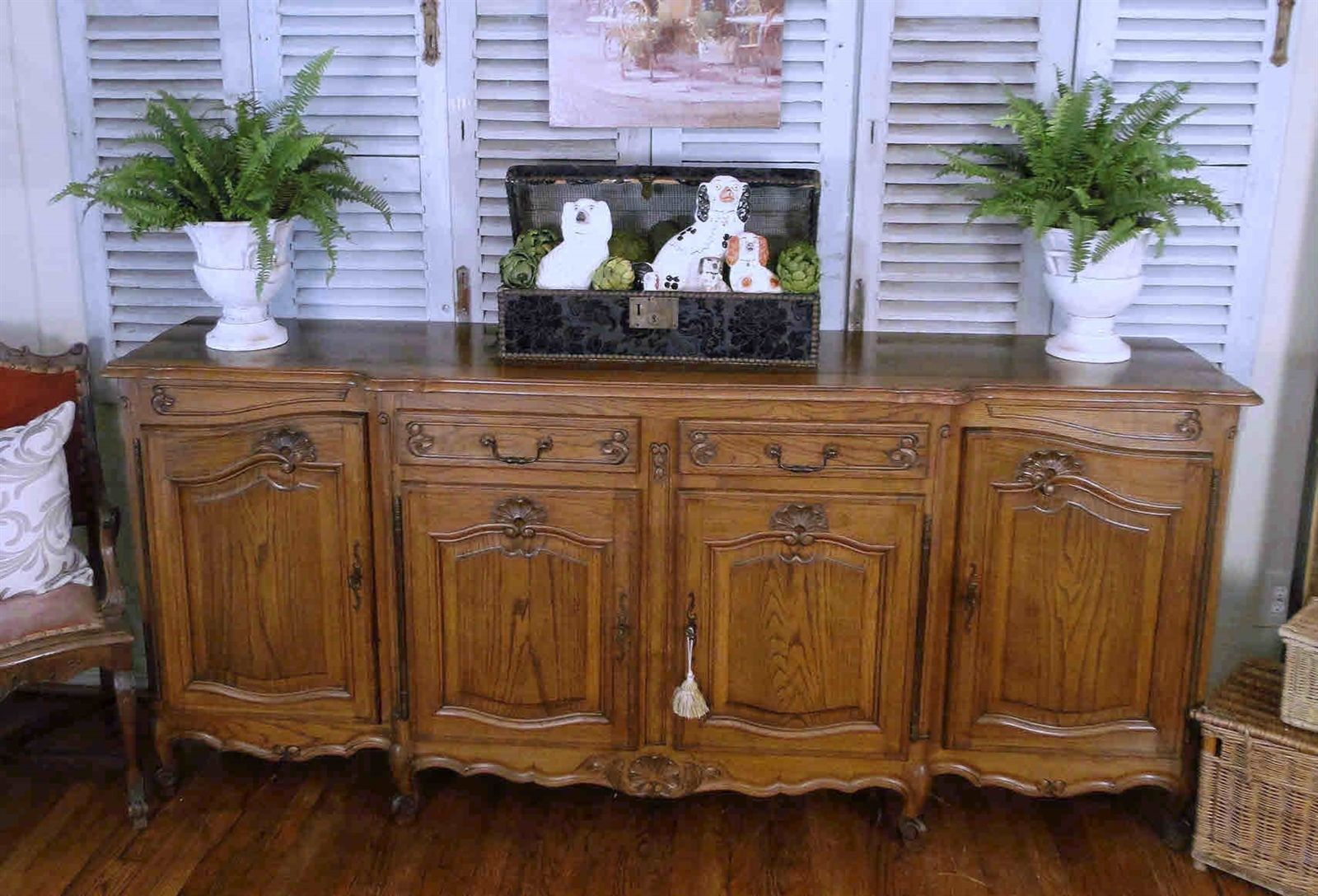 Antique French Country Louis XV Buffet Sideboard 20512