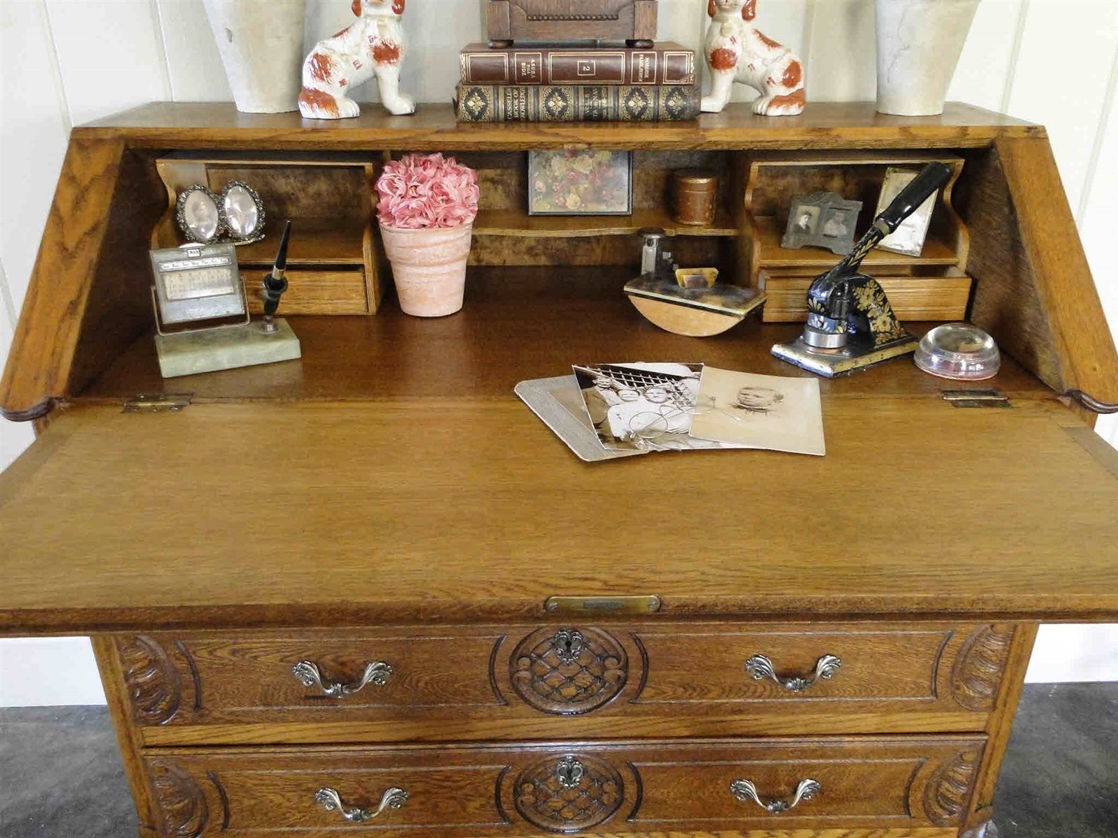 sons early desk s carved gibbard j drop front image