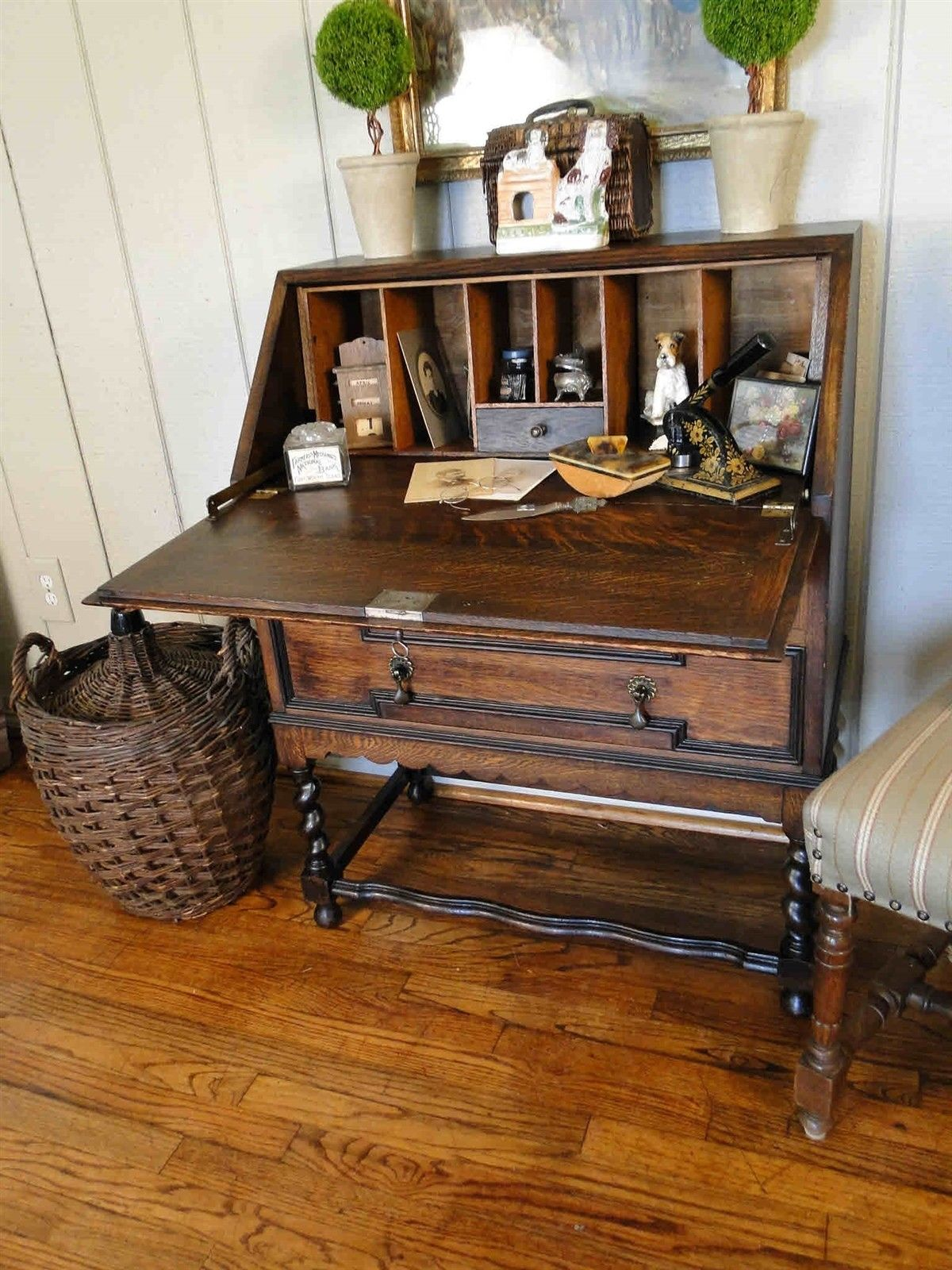 voorhees craftsman desk drop with product front stickley red in furniture mission oak signed decal gustav drawer