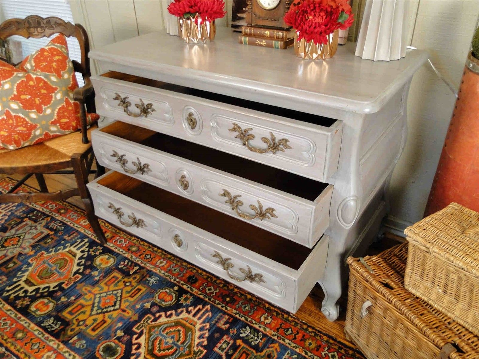 Antique French Country Buffet Sideboard Server Chest Painted 30907