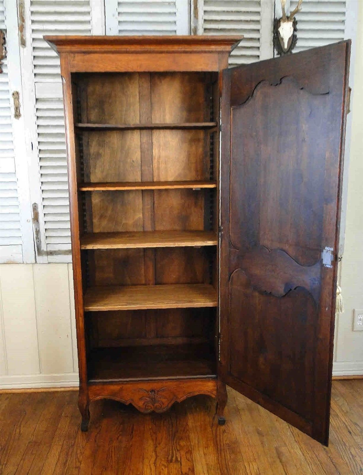 ... Antique French Country Armoire Tall Narrow Dark Oak 3340 ...