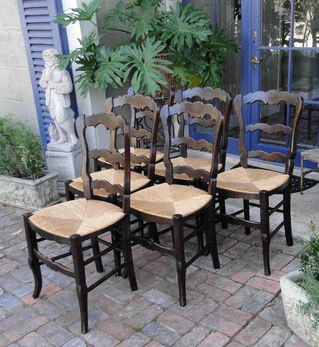 Antique French Dining Chairs Rush Seats Scalloped Ladder Back Stretchers  34551 ...