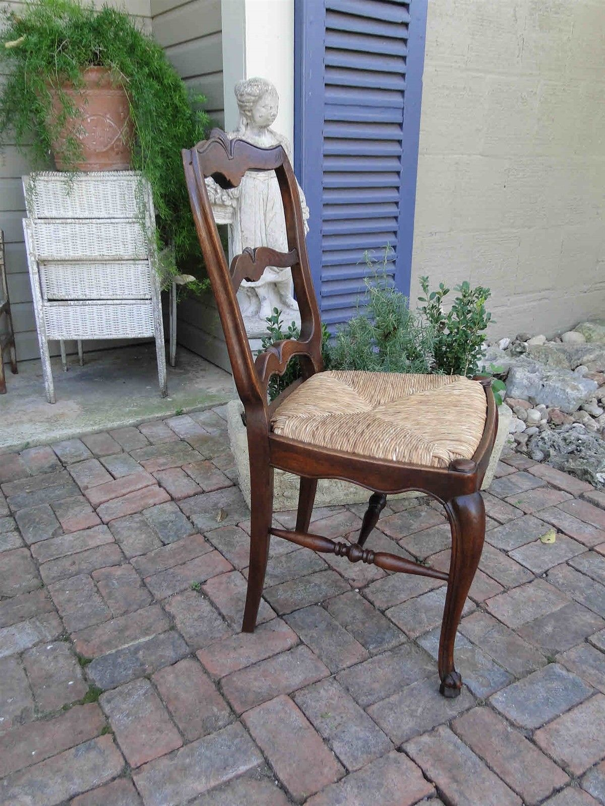 Four Antique French Dining Chairs Rush Seats Shells 3470
