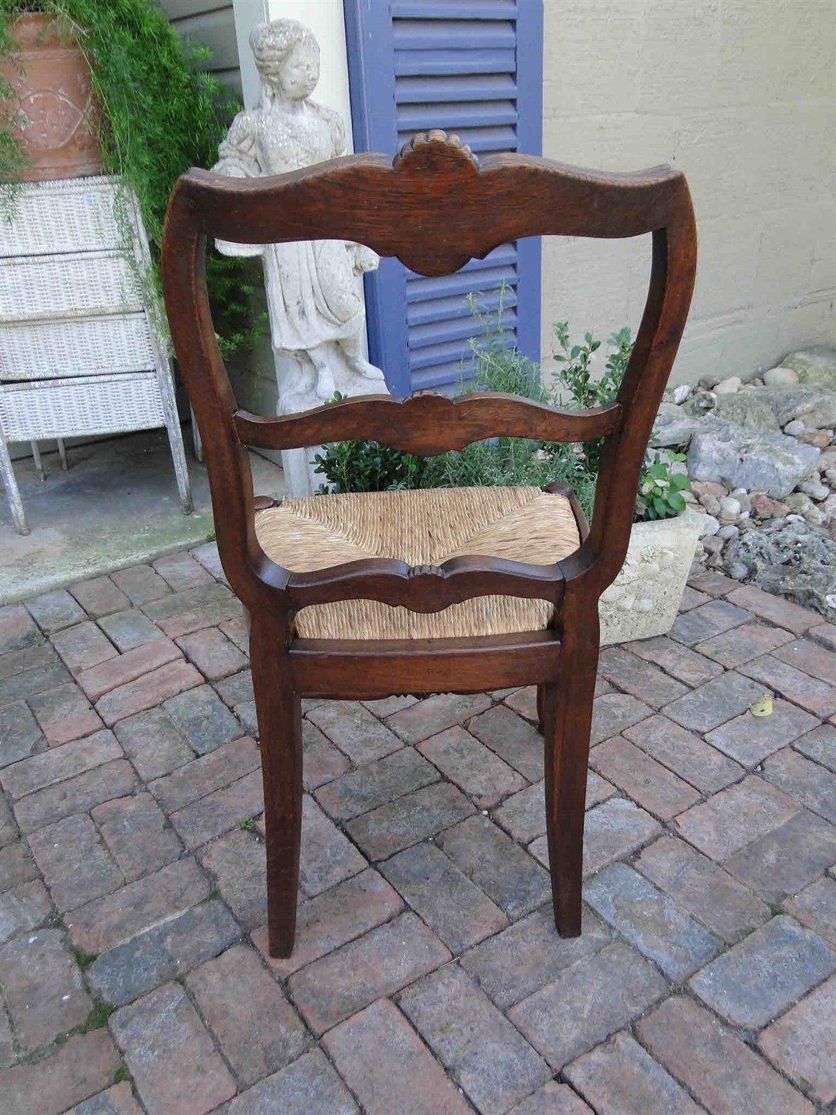 Four Antique French Dining Chairs Rush Seats Shells 3473