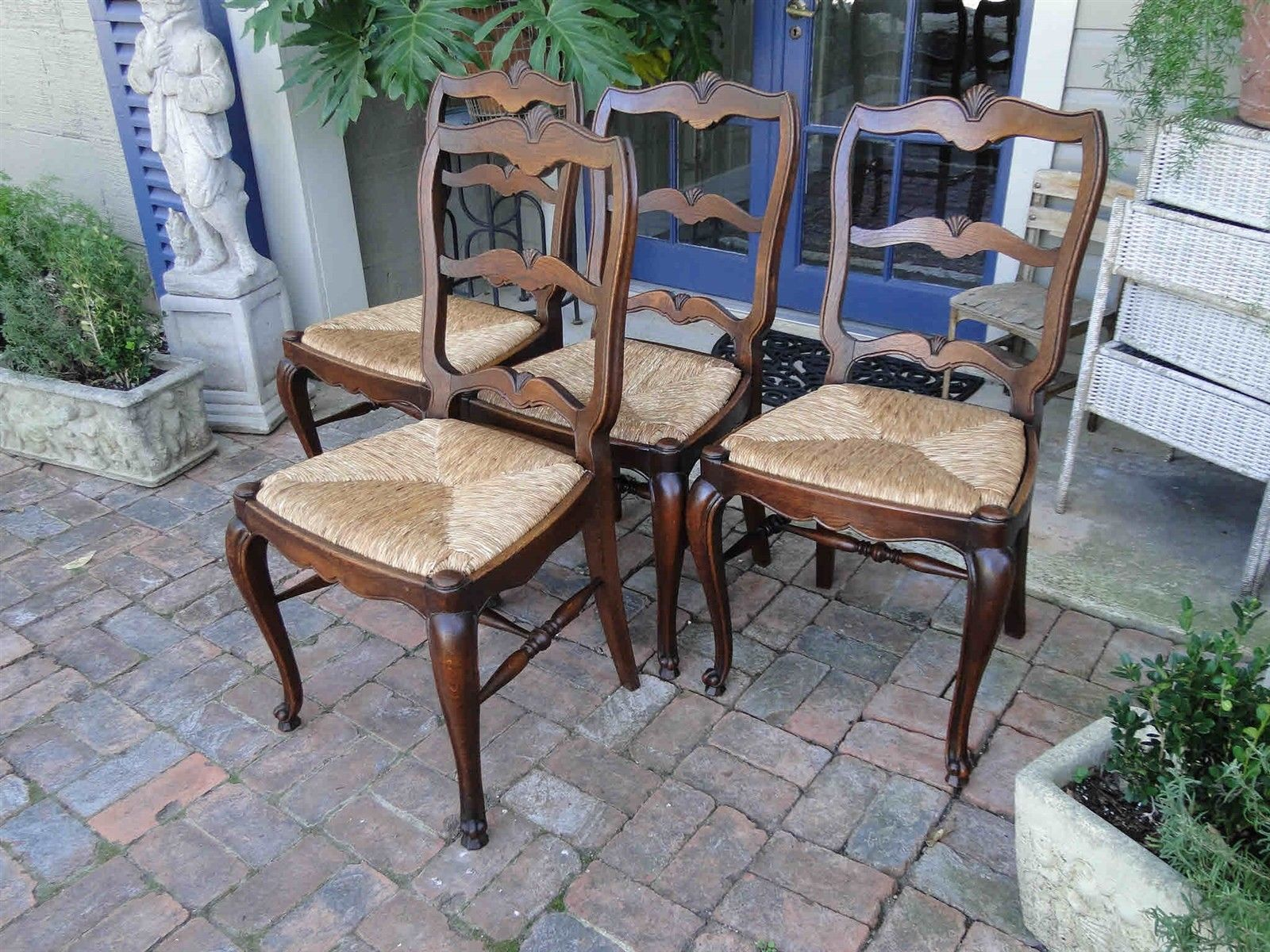 Four Antique French Dining Chairs Rush Seats Shells 3477