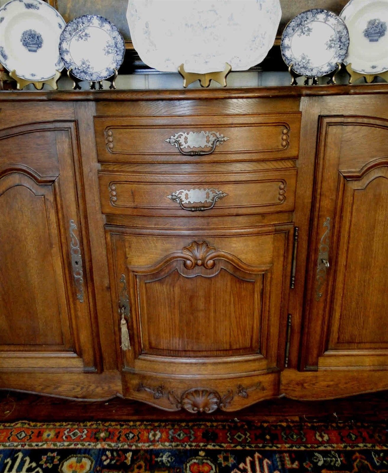 Antique French Country Buffet Carved Oak 40101
