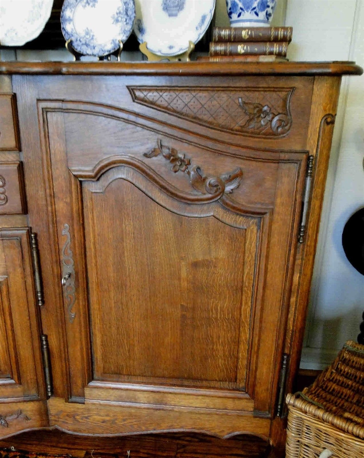Antique French Country Buffet Carved Oak 40102