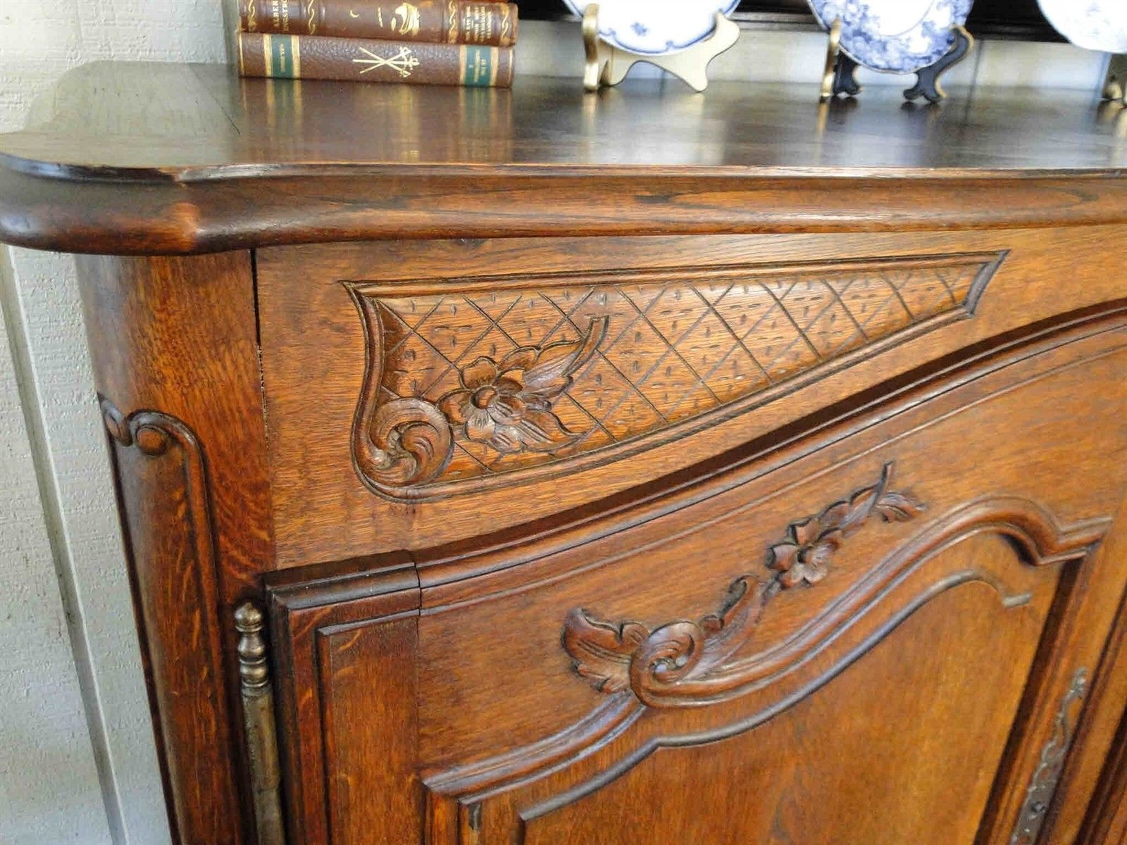 Antique French Country Buffet Carved Oak 40107