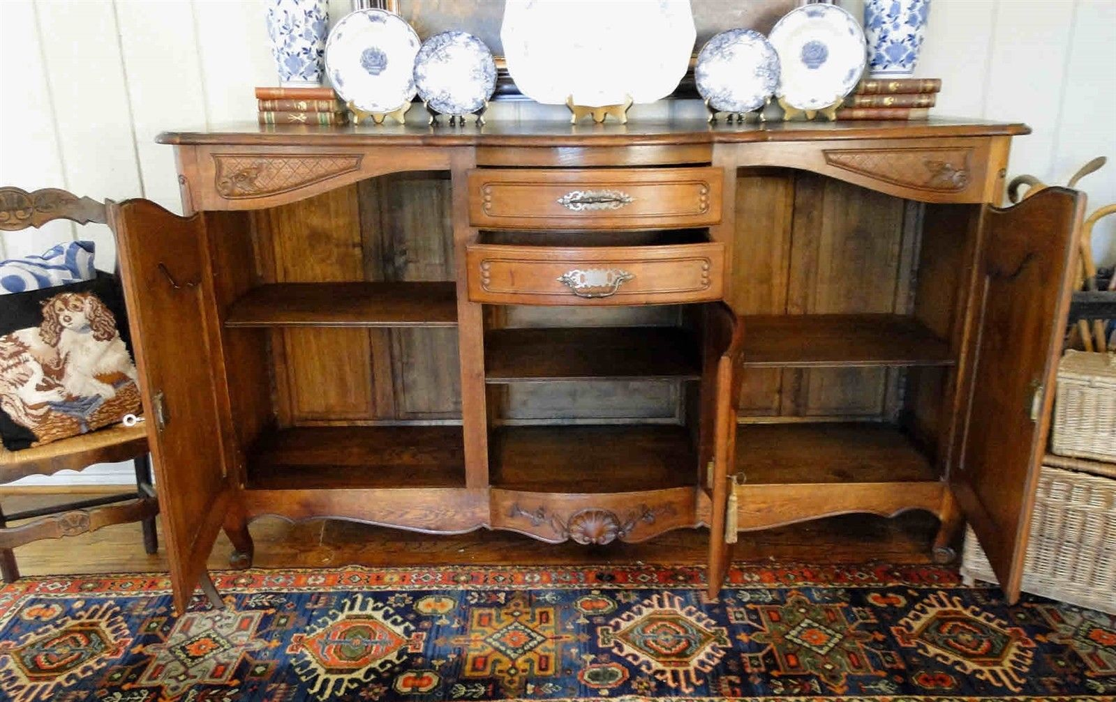 Antique French Country Buffet Carved Oak 40109