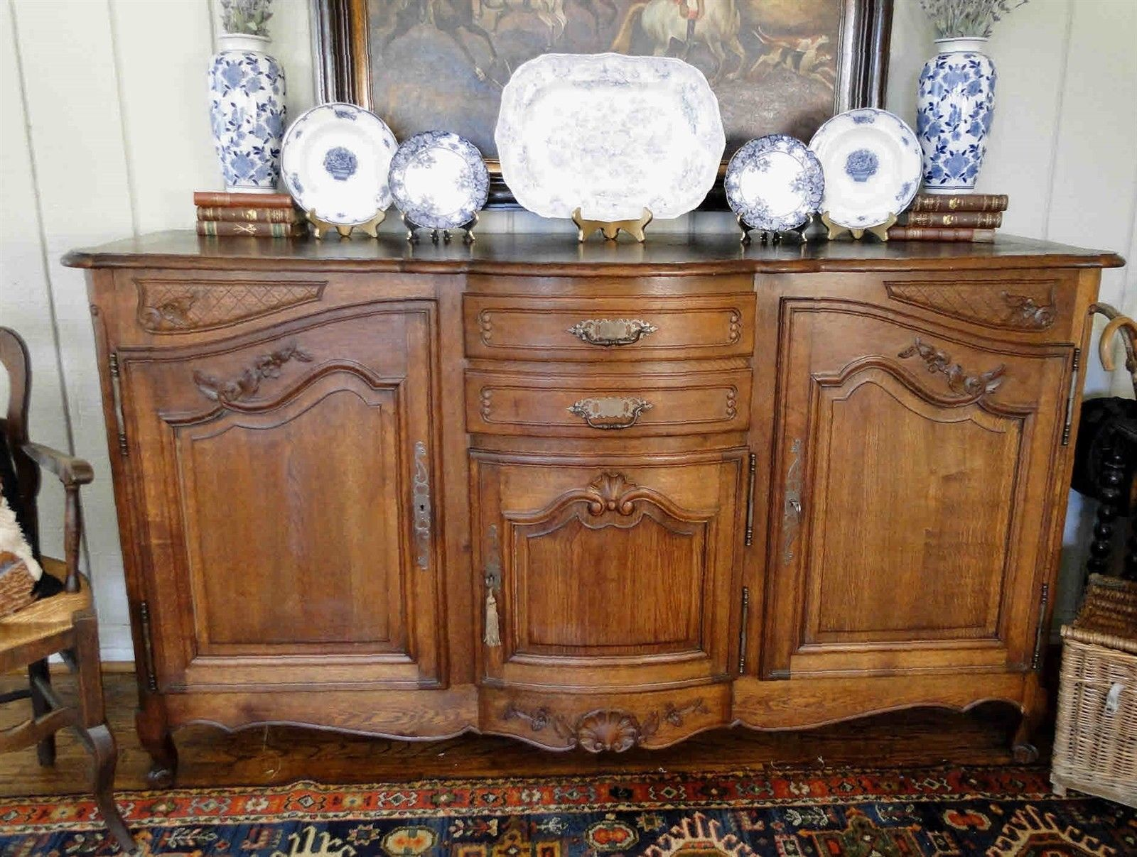 Antique French Country Buffet Carved Oak 40111