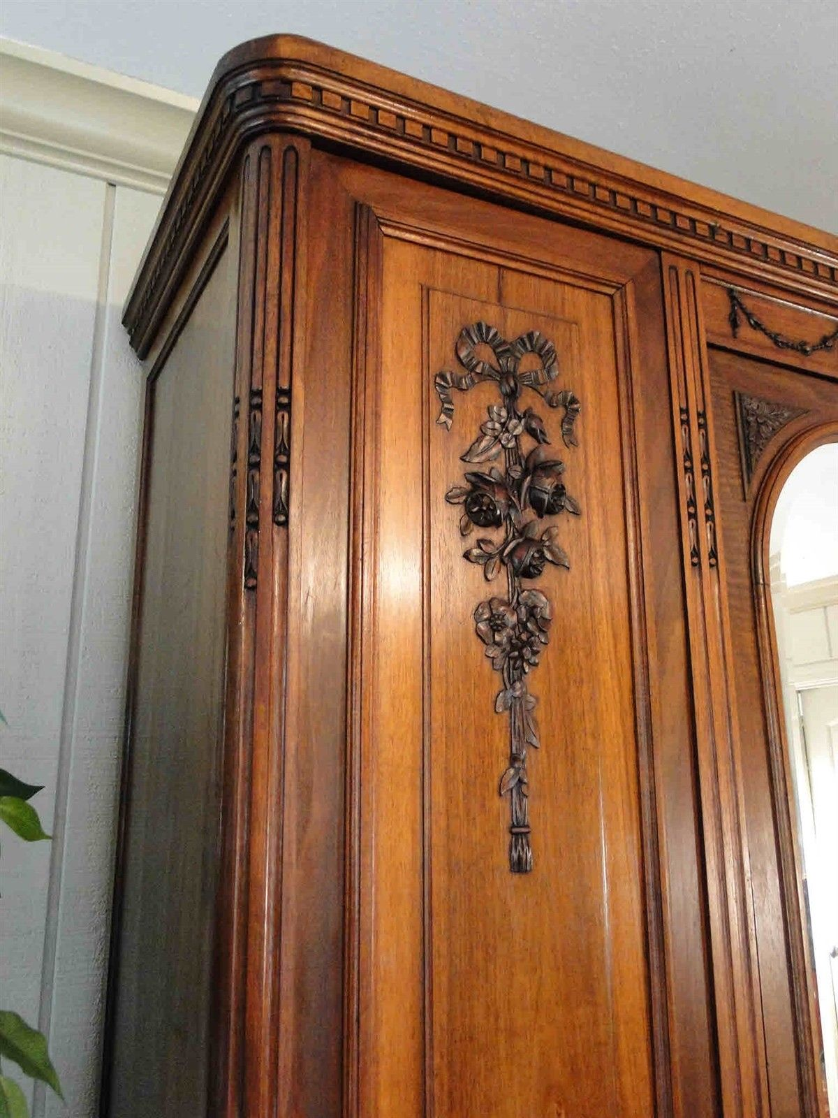 Antique French Armoire Wardrobe Large Beveled Mirror 40602