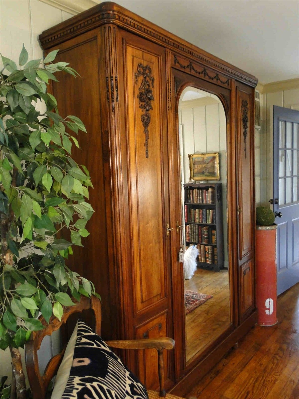 Antique French Armoire Wardrobe Large Beveled Mirror 40603