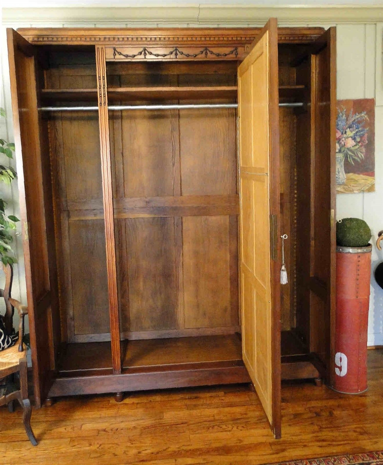 Antique French Armoire Wardrobe Large Beveled Mirror 40605