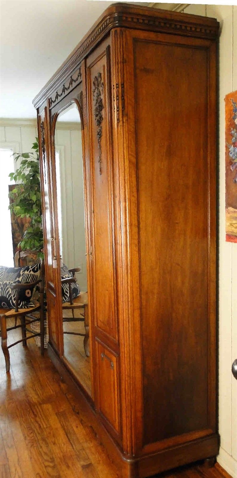 Antique French Armoire Wardrobe Large Beveled Mirror 40609