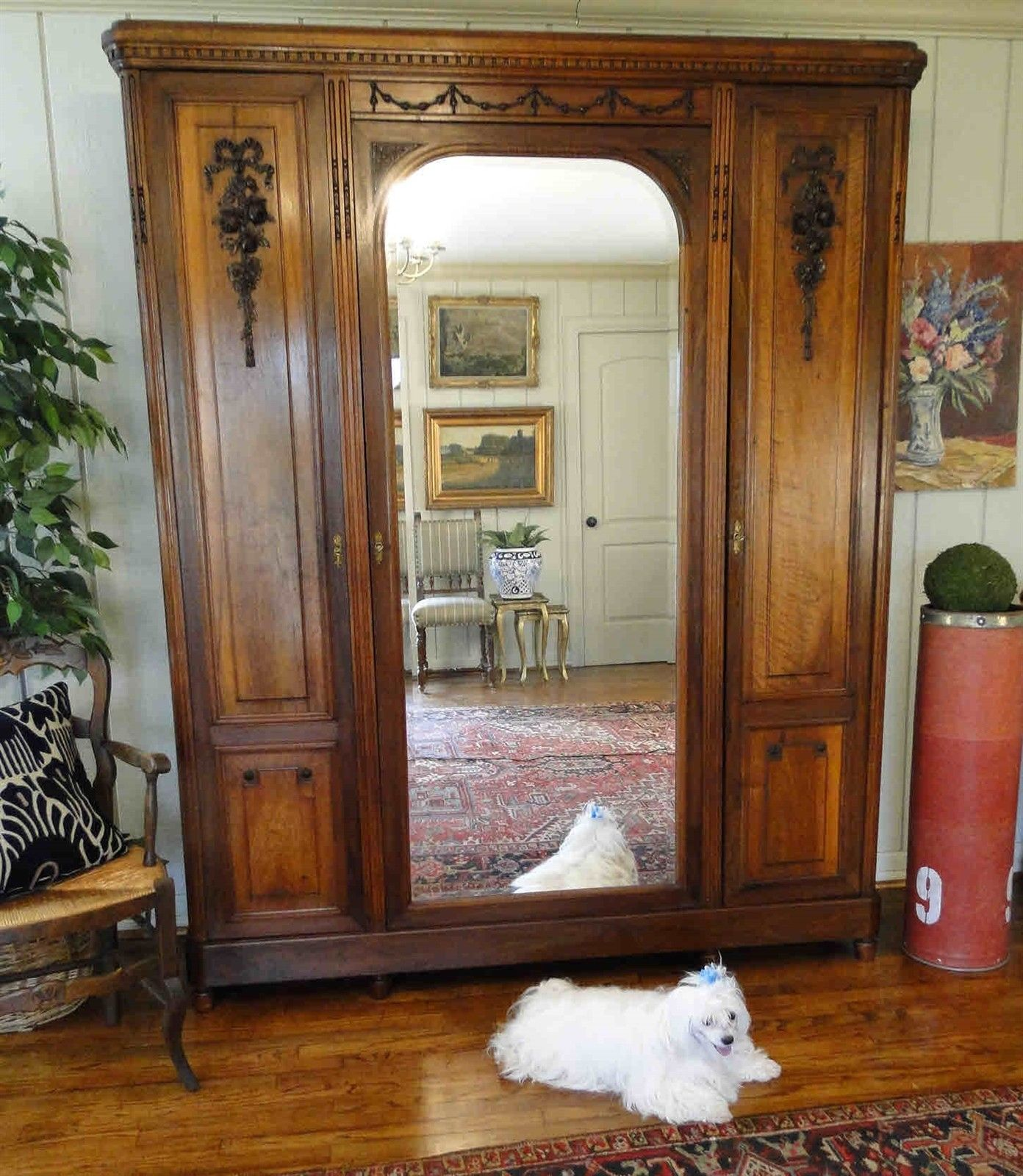 Antique French Armoire Wardrobe Large Beveled Mirror 40611