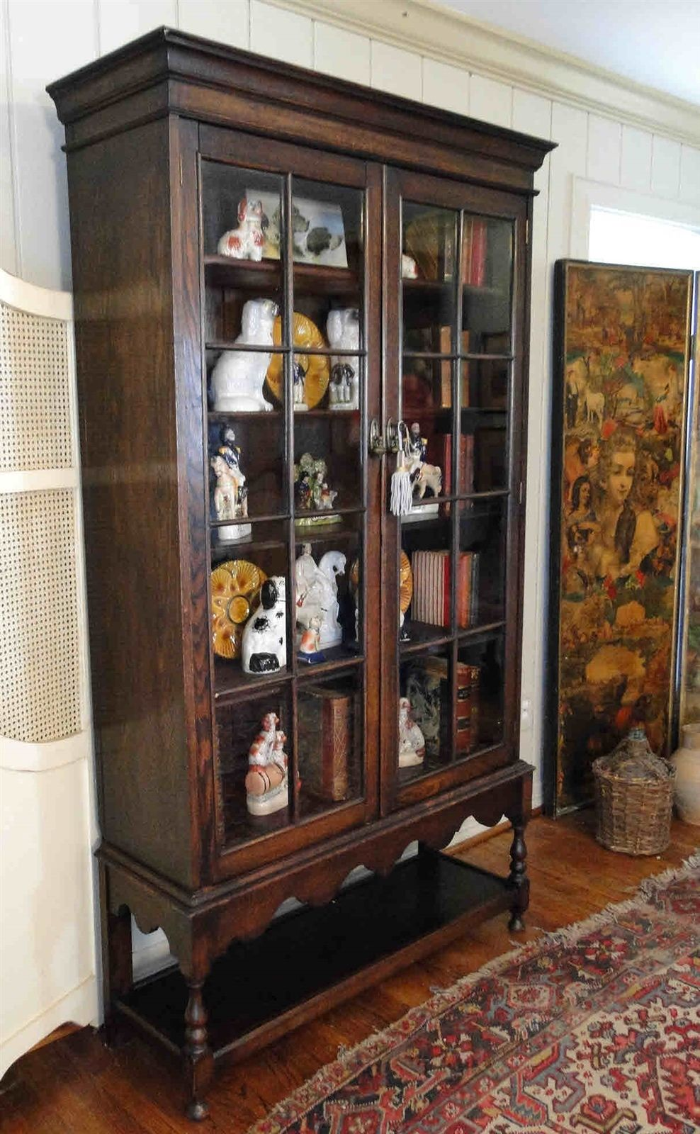Antique English Bookcase Tall Cupboard 5