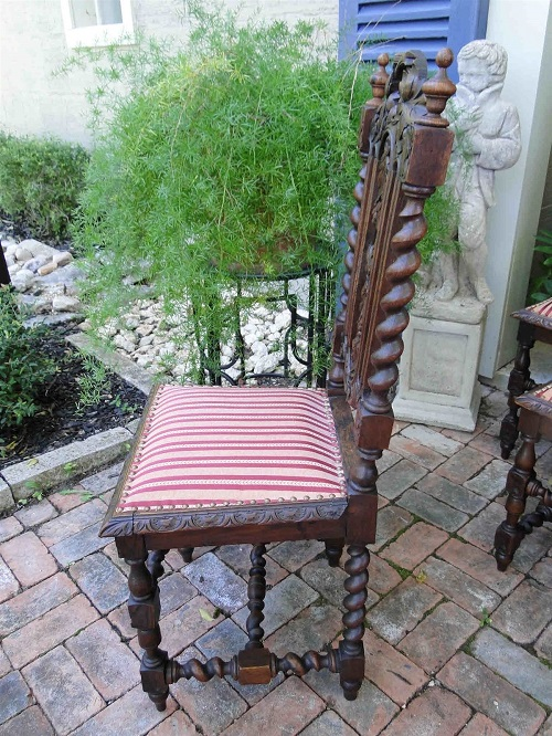 Antique French Carved Oak Dining CHAIRS Set 8 Black Forest Hunt Chair 1800's3