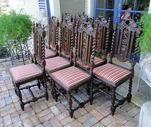 Antique French Carved Oak Dining CHAIRS Set 8 Black Forest Hunt Chair 1800's4
