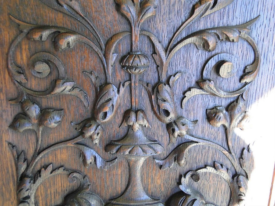 Hand Carved Wood Panel Antique French Mahogany 45902