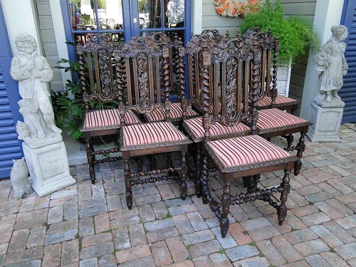Antique French Carved Oak Dining CHAIRS Set 8 Black Forest Hunt Chair 1800's12