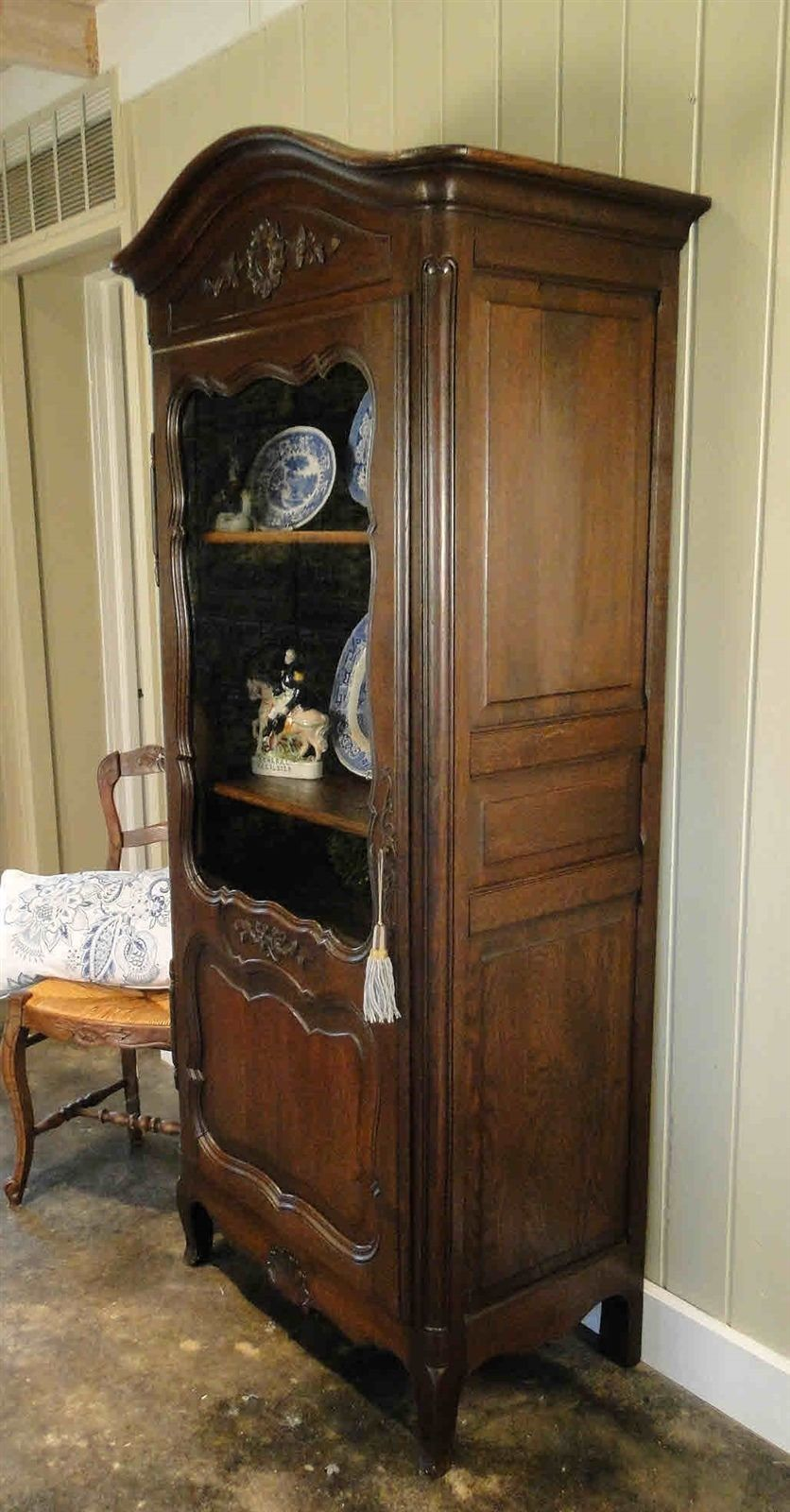 Antique French Bookcase Armoire Cabinet Cupboard Carved Dark Oak Shells9