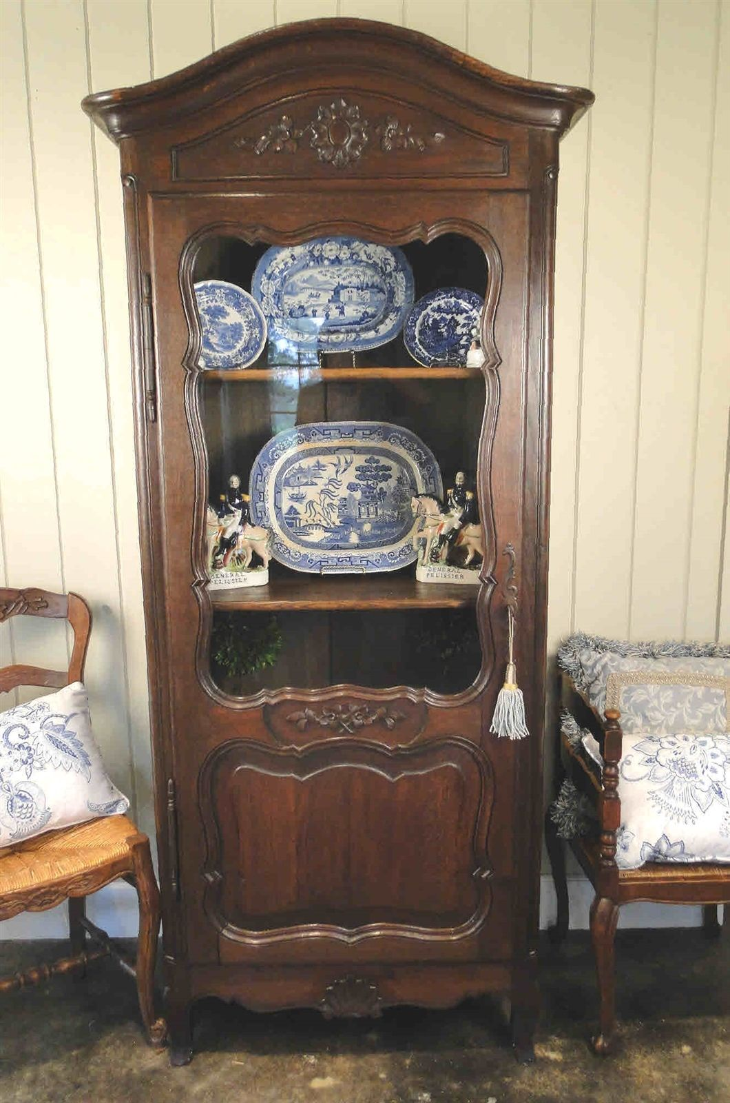 Antique French Bookcase Armoire Cabinet Cupboard Carved Dark Oak Shells11