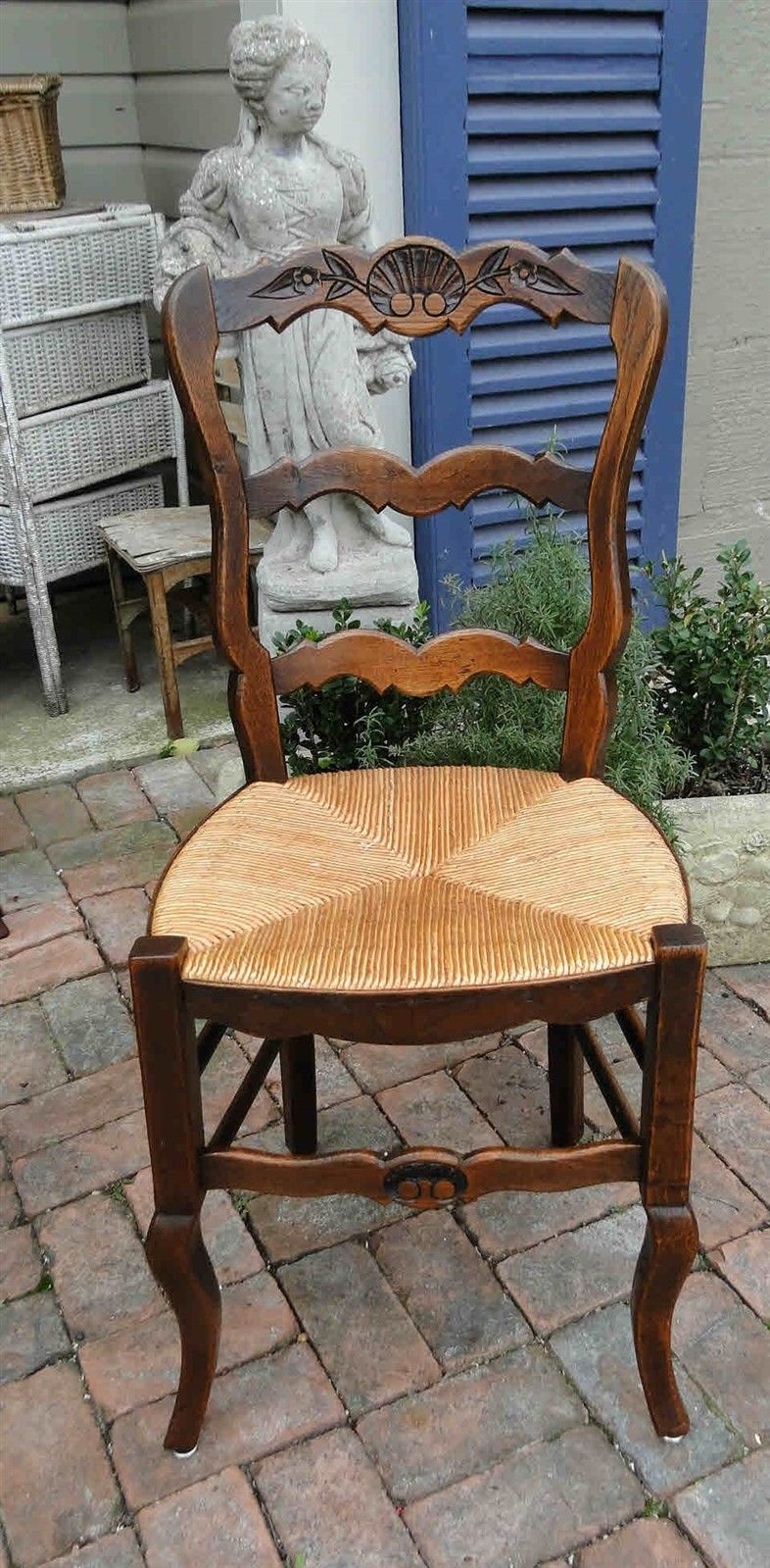 ... Antique French Dining Chairs Rush Seats Carved Tall Ladder Back 602 ...