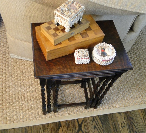 Antique French Oak Barley Twist Nesting Tables - Set of 3