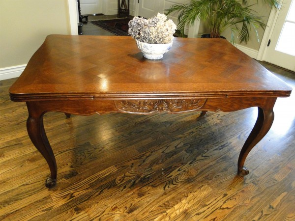 Antique Draw Leaf Parquet Table