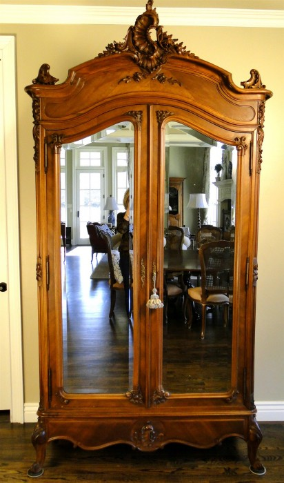 Antique French Wardrobe Armoire Beveled Mirror Carved