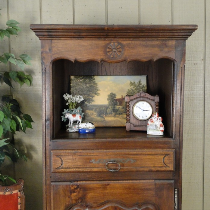 Antique FRENCH Carved Oak Cabinet Bookcase Bonnetiere