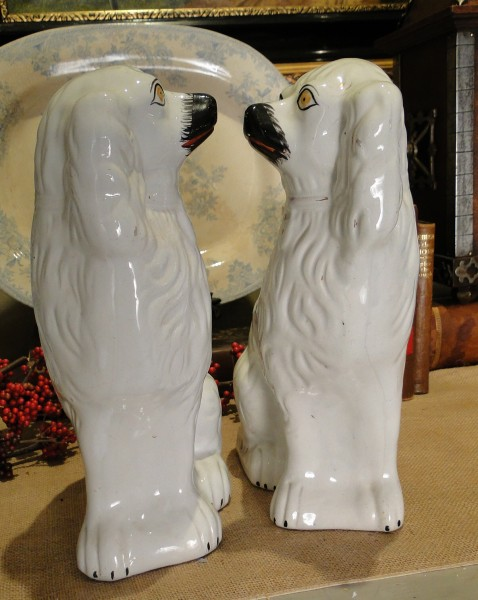 Antique Pair of Staffordshire Mantle Dogs