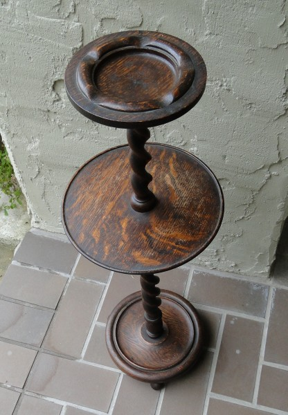 Antique English Carved Mahogany Stand / End Table