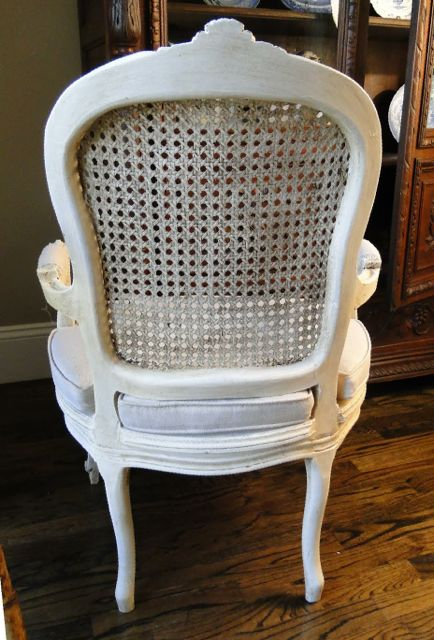 Antique French Shabby Cream White Armchair
