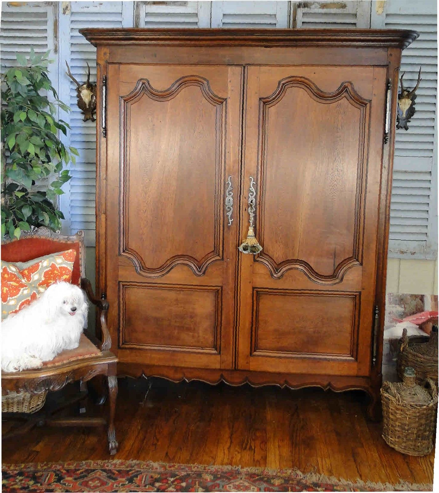 Antique French Armoire Wardrobe Closet Mahogany Rich ...