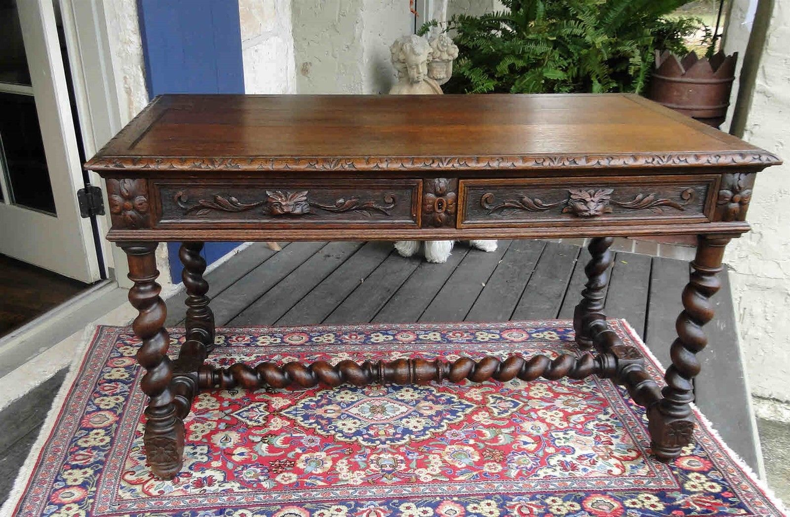 Antique French Carved Oak Barley Twist Desk Hall Entry Sofa Table Library 1880 S