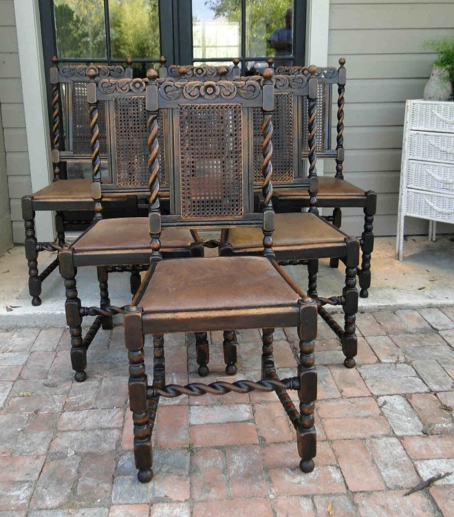 Set of 6 Antique English Twisted Oak Dining Chairs with Leather Seats - 6 Antique ENGLISH Barley Twisted Dining Chairs With Oak Carving
