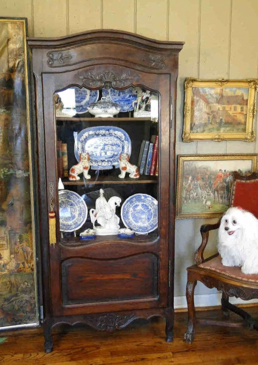 French Antique Bookcase Cabinet With Dark Oak Carving And Shell Design